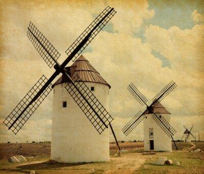 Obraz Medieval wiatraków. Castilla La Mancha, Hiszpania. Tekstury papieru.