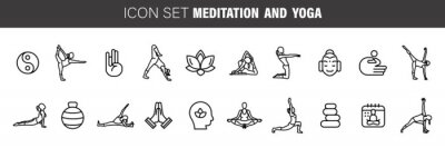 Obraz Meditation Practice and Yoga Vector Line Icons Set. Relaxation, Inner Peace, Self-knowledge, Inner Concentration