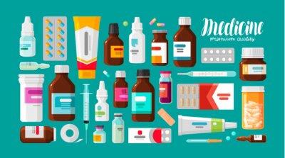 Obraz Medycyna, farmacja, szpitalny zestaw leków z etykietami. Koncepcja leków, farmaceutyków. Ilustracji wektorowych