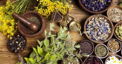 Obraz Medycyna naturalna, zioła, zaprawa
