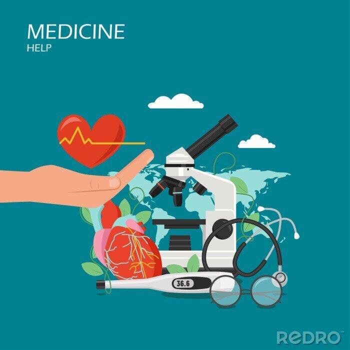 Obraz Medycyna pomoc ilustracja wektorowa płaski styl projektowania