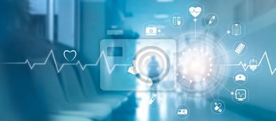 Obraz Medyczne ikona połączenia sieciowego z nowoczesnym interfejsem wirtualnego ekranu na tle szpitala, medycyna technologii sieciowej koncepcji