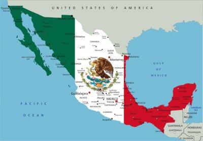 Obraz Meksyk bardzo szczegółowe mapy polityczne z flag narodowych.