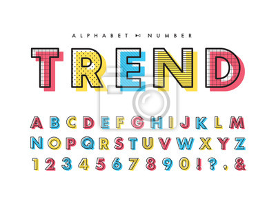 Obraz Memphis alphabet & number set. Vector decorative pattern typography. Font collection for headline or title design of poster, brochure, scrapbook or print.
