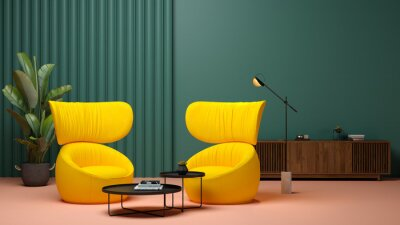 Obraz Memphis style conceptual interior room 3d illustration