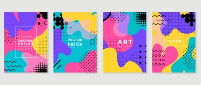 Obraz Memphis style cover vector. Minimal geometric background pattern for brochure, corporate business, catalog, magazine and flyer. Abstract arts wallpaper design for wall art, prints and home decoration.