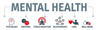 Obraz Mental health protection, resilience and care vector illustration banner