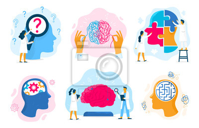 Obraz Mental health therapy. Emotional state, mentality healthcare and medical therapies prevention mental problem vector illustration set