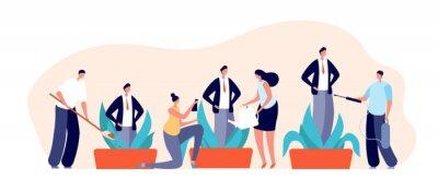 Obraz Mentoring concept. Inspiring professionals, corporate communication support. Successful businessman growth, utter mentorship vector banner