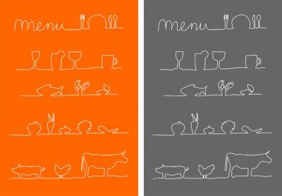 Obraz Menu, Speisekarte Symbole Essen und trinken