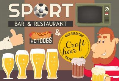 Menu z szablonem piwa dla baru sportowego i pubu. Ilustracji wektorowych.