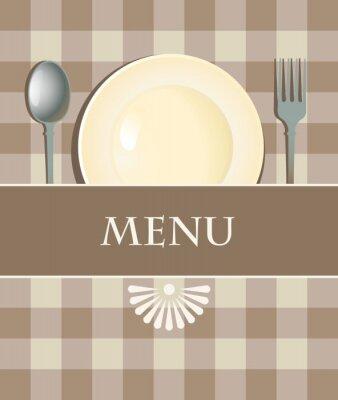 Obraz menu z sztućce na jej tle