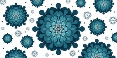 Merry Christmas and Happy new year. Abstract snowflakes with blue background