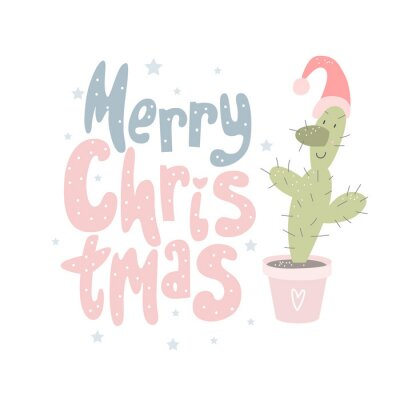 Merry Christmas and Happy New year hand drawn  print. Winter pattern