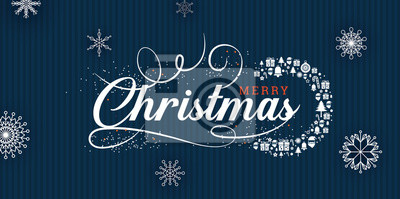 Merry Christmas greetings at blue background