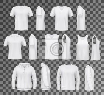 Obraz Męskie ubrania izolowane topy, koszule i bluza z kapturem