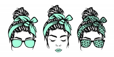 Obraz Messy bun, Girl with messy bun and glasses, Leopard bandana, Girl face