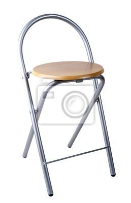 Metalowe i drewniane krzesło barowe.
