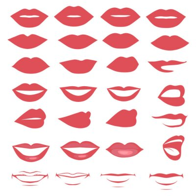 Obraz Mężczyzna i kobieta, vector, sylwetka warg i jamy ustnej, a błyszczący,