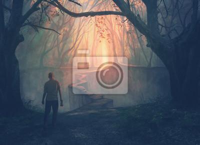 Obraz Mężczyzna i wąska ścieżka