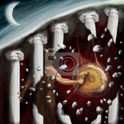 Obraz Mężczyzna uderza w gong w świecie fantasy, cyfrowy obraz