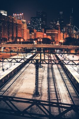 Obraz Miasto Chicago w nocy