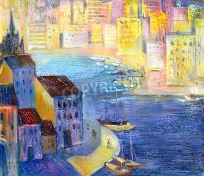 Obraz Miasto krajobraz z rzeki i statków