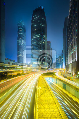 Miasto uliczny widok i budynki biurowi Hong Kong