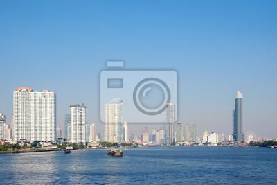 Miasto / widok na miasto i rzekę, Bangkok, Tajlandia.