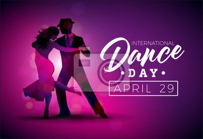 Obraz Międzynarodowy dzień tańca ilustracji wektorowych z tango taniec para na fioletowym tle. Szablon projektu banner, ulotki, zaproszenia, broszury, plakat lub karty z pozdrowieniami.
