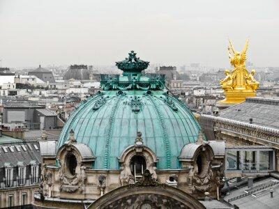 Obraz Miejski widok z badania Galerii Lafayette Terrace. Dachy Paryża.