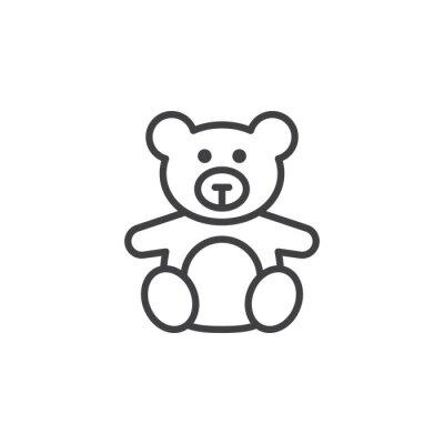 Obraz Miękka zabawka, Teddy bear linia ikona, konspektu znak wektora, piktogram liniowy na białym. logo ilustracji