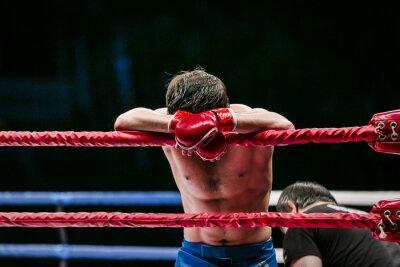 Obraz mieszanych sztuk walki myśliwców (MMA) stoi w rogu ringu. przegrał walkę. pokonanie przeciwnika
