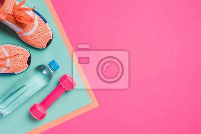 Obraz Mieszkanie leżało ze sprzętem sportowym na różowym tle
