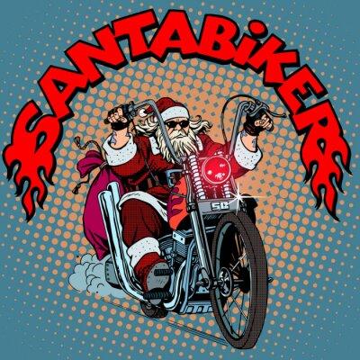 Obraz Mikołaj rowerzysta motocykla prezenty