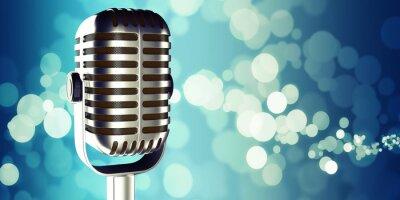 Obraz mikrofon w studiu przy tłem 3d ilustracja