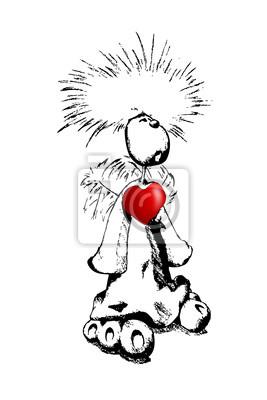 Obraz Miłość, serce, szczęśliwy, wesoły mężczyzna wesele