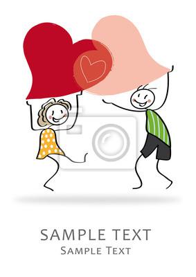 Obraz Miłość ślub Stick Rysunek Zaproszenie Greeting Card Na