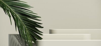 Obraz Minimal cosmetic background for product presentation. Cosmetic bottle podium and green palm leaf on grey color background. 3d render illustration. Object isolate clipping path included.