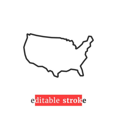 Obraz minimal editable stroke usa map icon