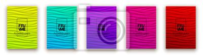 Obraz Minimal fluid covers design wall panel. Halftone colorful realistic 3d relief wave design. Future liquid modern interior gypsum stucco relievo patterns. Eps10 vector background set.