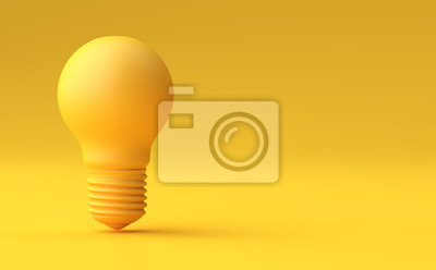 Obraz Minimal Idea Design Concept Żółta żarówka na żółtym tle pastelowych.