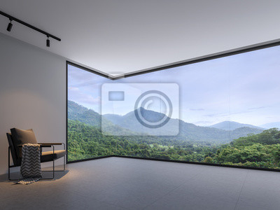 Obraz Minimalist room space with nature view 3d render,With a dark gray tile floor and white wall. Decorated with black cloth chairs,There are large  window, looking out to see the mountain.