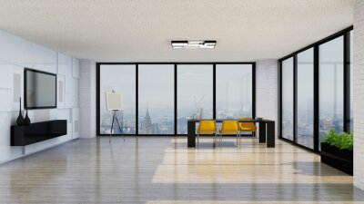 Obraz Minimalistic skyscraper office, photorealistic 3D Illustration of the interior, suitable for using in video conference and as a Zoom background.