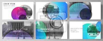 Obraz Minimalistyczna abstrakcyjna ilustracja wektorowa edytowalnego układu szablonów biznesowych slajdów prezentacji. Kreatywne nowoczesne jasne tło z kolorowe koła i okrągłe kształty.