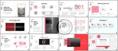 Obraz Minimalne szablony prezentacji. Technika elementy na białym tle. Technologia sci-fi koncepcja wektor. Prezentacje slajdów na ulotki, ulotki, broszury, raporty, marketing, reklama, baner