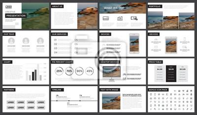 Obraz Minimalny szablon prezentacji czarno-białych