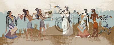 Obraz Minoan civilization. Ancient Greece frescos. Ancient Crete. Hera