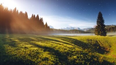 Obraz Misty summer night in the Durmitor National park. Location place village Zabljak, Montenegro, Balkans, Europe. Scenic image of the alpine valley. Magic astrophotography. Discover the beauty of earth.