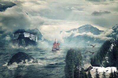 Obraz Mistyczny krajobraz z szczyty gór i morza.